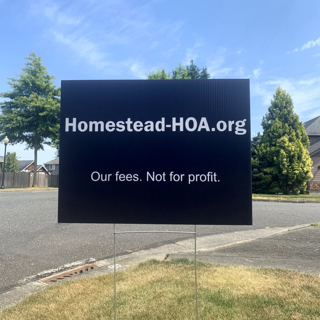 Homestead HOA yard sign